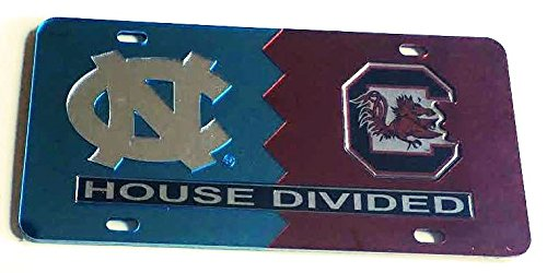 UNC North Carolina Tar Heels - USC South Carolina Gamecocks - House Divided Mirrored Car Tag License Plate (Divided House Unc)