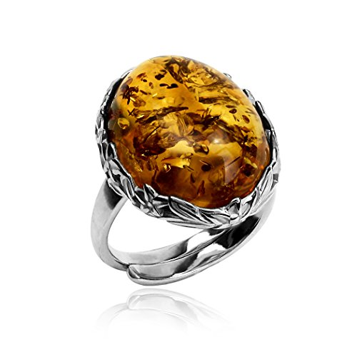 Ian and Valeri Co. Amber Sterling Silver Victorian Ring