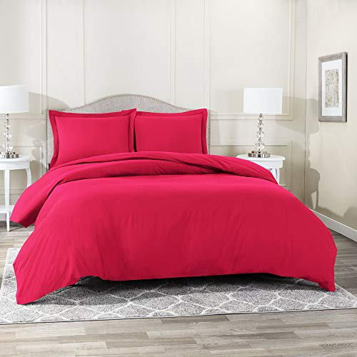 Nestl Bedding Duvet Cover 2 Piece Set - Ultra Soft Double Brushed Microfiber Hotel Collection - Comforter Cover with Button Closure and 1 Pillow Sham, Hot Pink - Twin (Single) 68