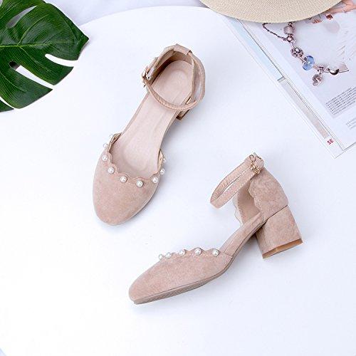 De Amarre Con De GAOLIM Alto Con Alumnos Tacón Sandalias Hadas Beige Baotou Bordada Ranurada Femeninas Gruesos Zapatos wt0qx0Pvp