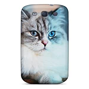 Snap-on Case Designed For Galaxy S3- Blue Cat Meow