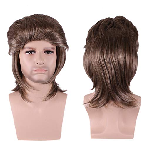Men Male Brown Wigs Short Straight Synthetic Hair Wig for Guy Natural Looking Wig for Halloween Cosplay Costume Party 13