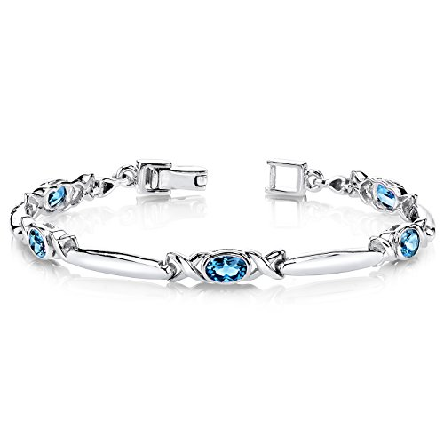 London Blue Topaz Bracelet Sterling Silver 2.75 Carats X (Bangle Blue Topaz Bracelet)