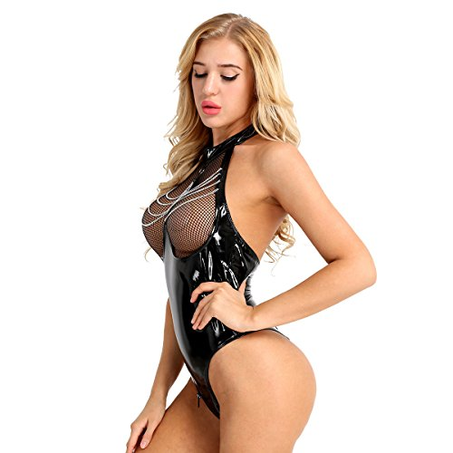 ACSUSS Women's Shiny Leather Bodysuit Leotard Zipper Crotch Thong Catsuit Clubwear Black Medium