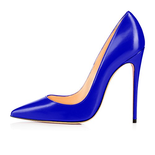 Chaussures Talons Haut Chaussures Aiguille Bleu Escarpins Femme Grande Femmes Stilettos Talon PU uBeauty Talon Taille 120MM Chaussures qz6PFnF
