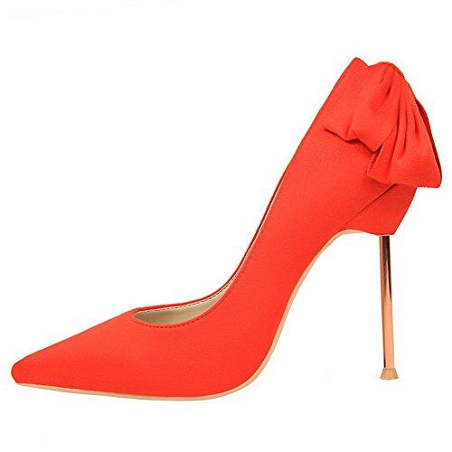 Aalardom Femmes Pointes-stilettos Bout Pointu Pull-on Pompes Solides-chaussures Avec Bowknot Orange-givré