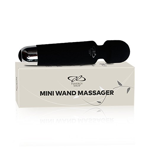 Mini Wireless Wand Massager for Women, Waterproof - Rechargeable for Body, Back, Neck Sport Massage, Black,Travel Friendly, Multi Speed (8), 10 Magic Vibrator Patterns, Personal Quiet Female