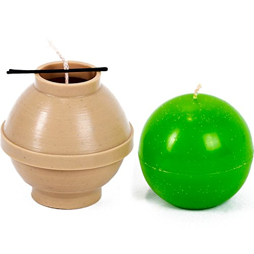 Ball diameter: 3.9 in - Sphere - 30 ft. of wick included as a gift - Plastic candle molds for making candles (Floater Mold)