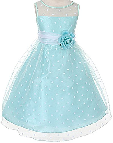 Organza Special Occasion Dress with White Polka Dots Girls, -