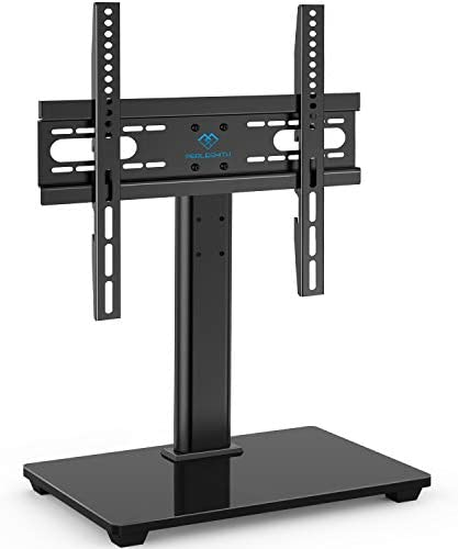PERLESMITH Universal TV Stand – Table Top TV Stand for 37-55 inch LCD LED TVs – Height Adjustable TV Base Stand with Tempered Glass Base Wire Management, VESA 400x400mm