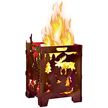 MOOSE Wood Burning Pit, Burn Cage, Incinerator Barrel, Great for Patio and Outdoor Backyard Bonfire Heavy Duty Large 21 x 21 x 27 inch