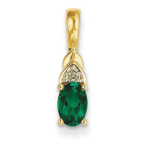 14 carats et diamants bruts Pendentif émeraude véritable JewelryWeb