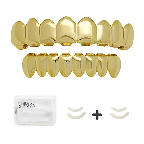 - LuReen Universal 14k Gold Plated Shiny Hip Hop 8 Teeth Grillz Top and Bottom Grills Set with 4 Silicon Molding Bars(2 Extra)