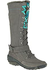 Cushe Womens Allpine Tundra Waterproof Leather Winter High Boot Grey Turquoise