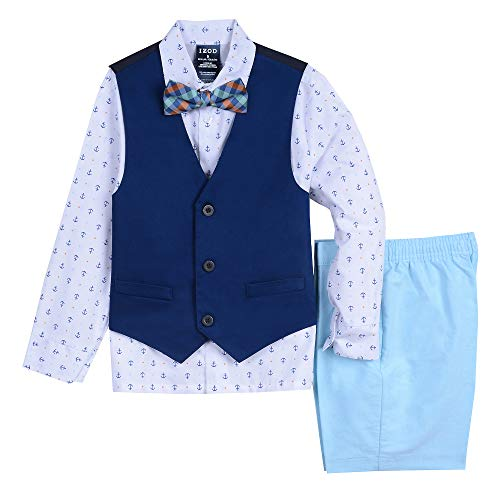 IZOD Boys' Toddler Four Piece Formal Vest Set, Blue Diamond 4T