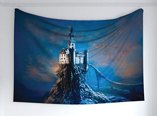 Ambesonne Fantasy Tapestry, Ancient Old Castle on a Rocky Hill Top Mysterious Medieval Architecture, Fabric Wall Hanging Decor Bedroom Living Room Dorm, 60 W X 40 L Inches, Blue Pale Orange Cream ()