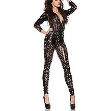 Goocheer Women's Long Sleeve Metallic Patent Leather Jumpsuit Romper Fishnet Bodysuit Dancing Catsuit Leotard Clubwear