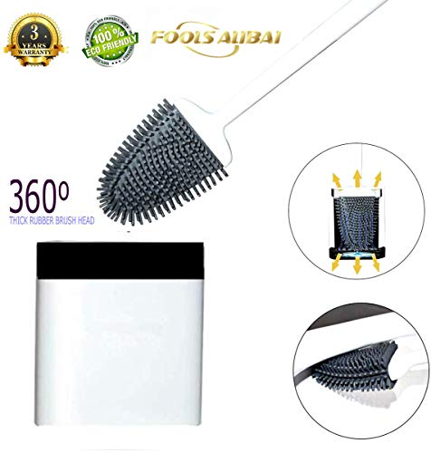 Toilet Brushes and Holders Upgraded Modern Design, Bathroom Toilet Bowl Brushes with Quick Drying Holder Set (Mounted Wall)