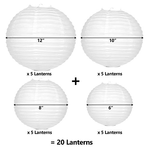 White Paper Lanterns 20 Bulk Pack with Assorted Sizes 12, 10, 8, and 6 inch = 5 Each. Largest Lantern Pack Hanging Round Chinese Lamp Decoration for Your Wedding, Reception, Crafts, and Party Lights.