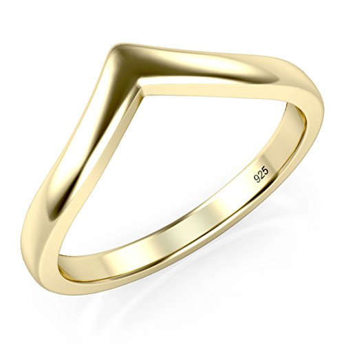 Sz 10 Yellow Gold Plated Sterling Silver 925 Chevron Stackable Ring (Gold Yellow Stackable)