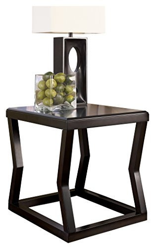 Ashley Furniture Signature Design - Kelton Rectangular End Table - Ultra Clean Lines - Contemporary - Espresso (Antique Brown Desk)