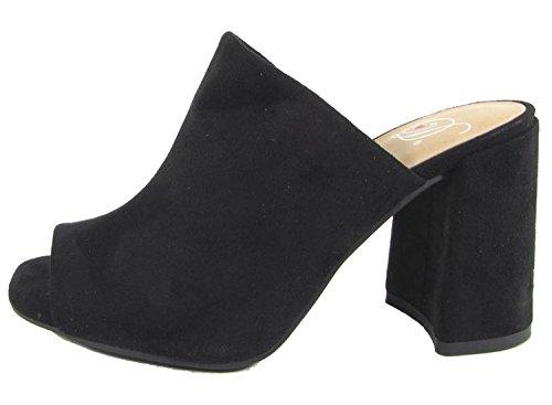 black slides heels - 9