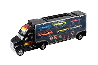 Transport Car Carrier Truck - With 6 Stylish Metal Racing Cars - With Carrying Case