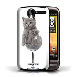 KOBALT? Protective Hard Back Phone Case / Cover for HTC Desire G7 | Wine Glass Design | Cute Kittens Collection