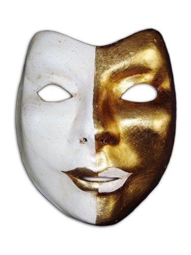 Voltes 5 Costume (Venetian Full Face Mask Volto Uri for Men and Women (gold))