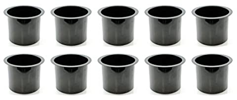 Lot of 10 Aluminum Poker Table Cup Holder in Black by Versa Games - Black Poker Game Table
