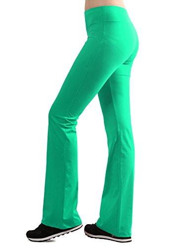 (TWINTH Womens Cotton Spandex Bootleg Flare Yoga Fitness Pant Darkmint XS)