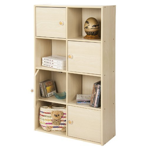 Door 4 Shelf Barrister Bookcase (Furinno 11237SBE Pasir 4-Tier Shelf with 4 Door/Round Handle, Steam Beech)