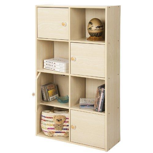 (Furinno 11237SBE Pasir 4-Tier Shelf with 4 Door/Round Handle, Steam Beech)
