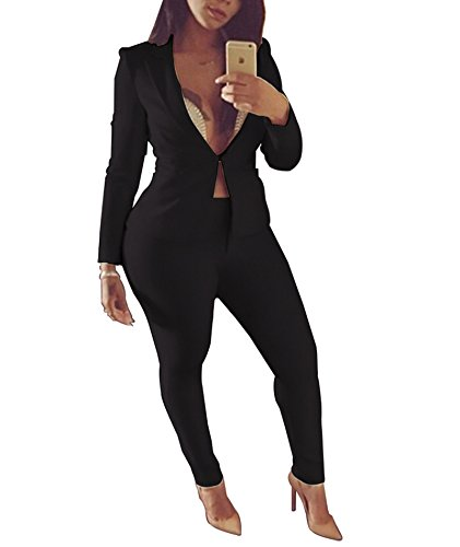 Women's Two Piece Office Lady Blazer Business Suit Set Blazer Jacket and Pants Black Medium (Pant Ladies Suits)