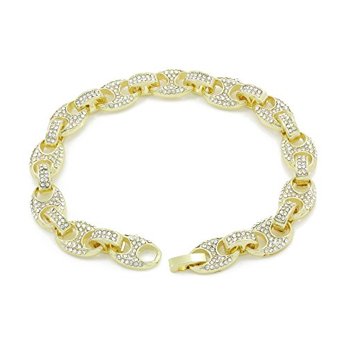Bling Bling NY Mens Iced Out Mariner Link Choker Necklace/Bracelet Gold Finish Lab Created Diamonds 8MM (8.5-30 inches) (Bracelet 8.5'')