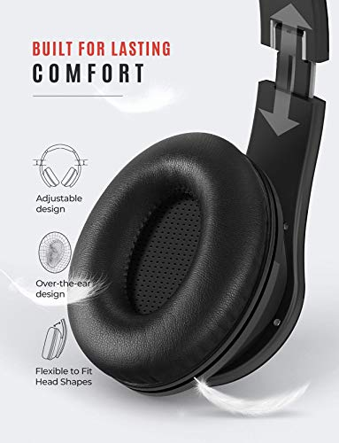 Mpow 059 Bluetooth Headphones, Upgrade 65H Playtime Bluetooth 5.0 Headphones Over Ear, Hifi Sound, Built-in Microphone, Memory-Protein Earmuffs, Wireless Wired Headset, for Home Office, PC, Phone, TV