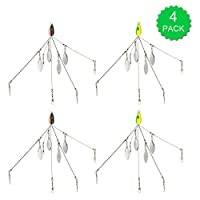 Lixada 5 Arms Alabama Umbrella Rigs with Barrel Swivels Fishing Lures Bait Rigs for Bass (4 Pcs)