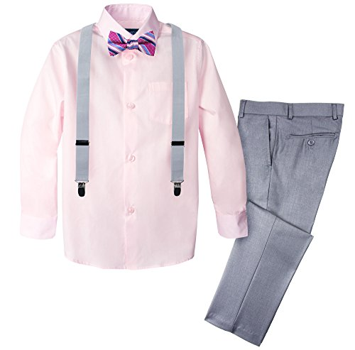 Spring Notion Boys' 4-Piece Patterned Dress up Pants Set 6 Light Grey/Marshmallow ()