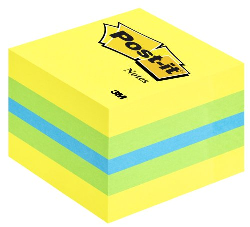 Post-it Notes - Mini Cube - Neon Yellow, Ultra Green, Ultra Blue, Ultra Green, Neon Yellow - 400 Sheets - 51 mm x 51 mm