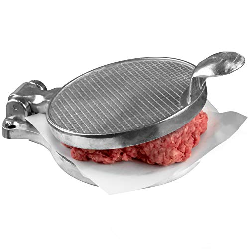 Pro-Grade Burger Press 4.5in. Nonstick Cast Aluminum Patty Maker Presses 1/4 Lb Ground Beef or Sausage Patties. Grill Perfectly Round Hamburgers Quick and Easy. Great for Barbecues and Meal Prep