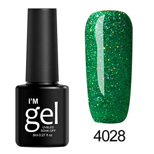 MelysUS 8mL 19 Colors Long Lasting Glitter Gel Nail Polish Beauty Art Tools Salon Nail Art Equipment (Difference Between Gel Nails And Gel Polish)