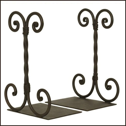 (Wrought Iron Twirled Scroll Bookends)
