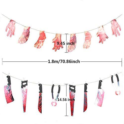 Boogaa Halloween Horror Banner Broken Hands/Broken Foots/Bloody Knives,Halloween Party Decorations Supplies,Set of 2 ()