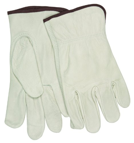 Unlined Leather Driver (MCR Safety 32113XXL Industry Grade Unlined Grain Cow Leather Driver Men's Gloves with Keystone Thumb, Cream, 2X-Large, 1-Pair)
