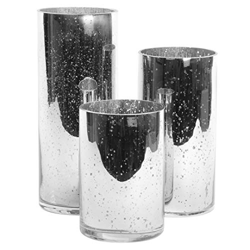 (Koyal Wholesale Silver Antique Glass Cylinder Vases Set of 3 for Flowers, Floating Candles, Centerpiece Wedding Decor)