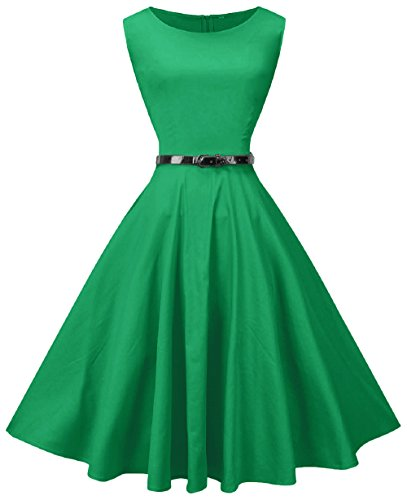 MUSSIN Women's Vintage Rockabilly Dress With Belt For Cocktail Club Party,US Size 4-6, Green
