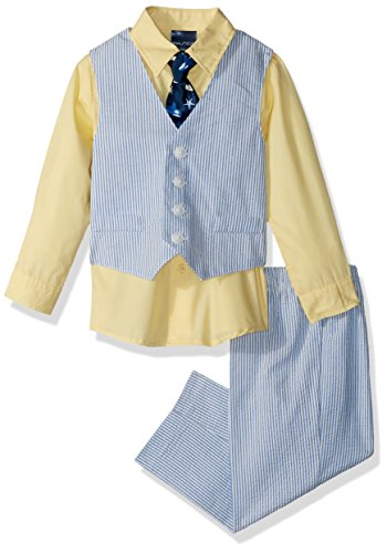 Nautica Boys' Baby 4-Piece Formal Dresswear Vest Set, Seersucker Regatta Blue, 24 Months from Nautica