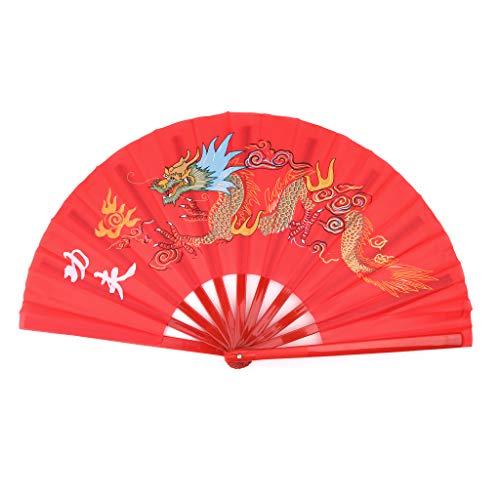 Performance Hydrogel - Kofun Tai Chi Fan, 33Cm Chinese Traditional Martial Arts Folding Tai Chi Fan Kung Fu Performance Red