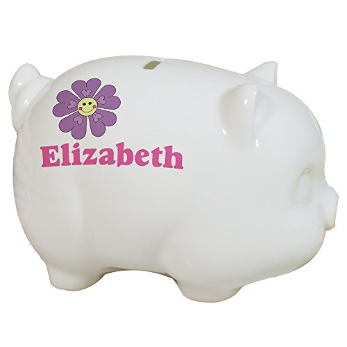GiftsForYouNow White Ceramic Flower Piggy Bank - Personalized for Free