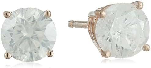 IGI Certified 14k Rose Gold Round Diamond Stud Earrings